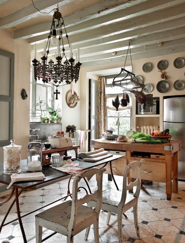Beautiful French Romance French Romance Through A Poetic Setting Of Antiques And Shabby Chic Furniture 13 Kitchen Island Ideas