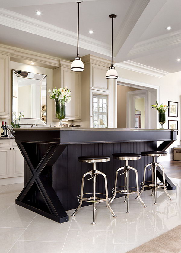 Black beauty. Stylish X shape is keeping very hot. This huge black X shape island is  a great way to  make the kitchen a different one.