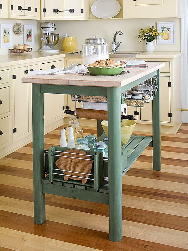 Talk about teeny. This is a perfect island for tiny kitchen and make a small kitchen look and feel spacious.  Also the work island  and the racks underneath are great!