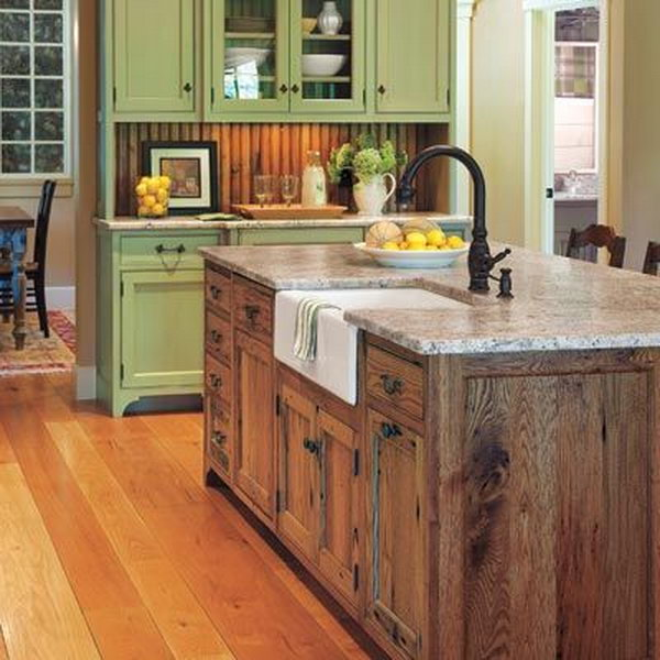 Kitchen Sink Island : Coral-colored island. This chic cottage kitchen is really a different ...
