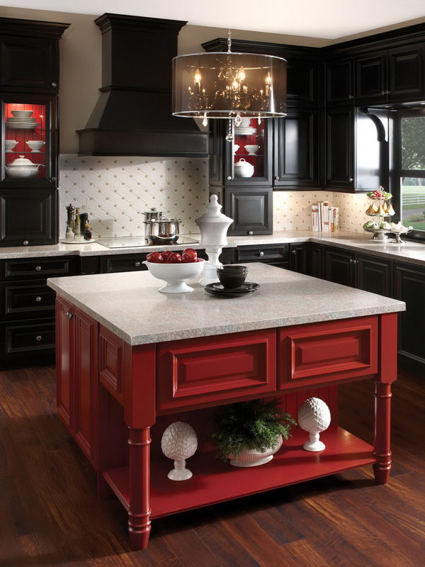 Black With A Pop Of Red Black Cabinetry Has Been So Hot But So