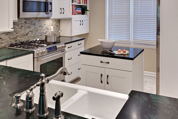 Black And White Compact Kitchen Island In This Small Kitchen An Extra Island Is