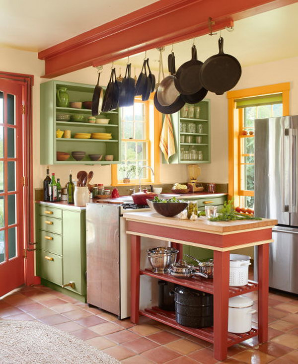 Stylish and Functional. Great color combination of green, orange, black and red. It keeps a kitchen from a standard one.
