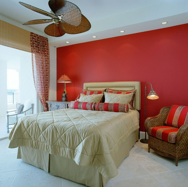 45 beautiful paint color ideas for master bedroom hative Red bedroom wall painting ideas