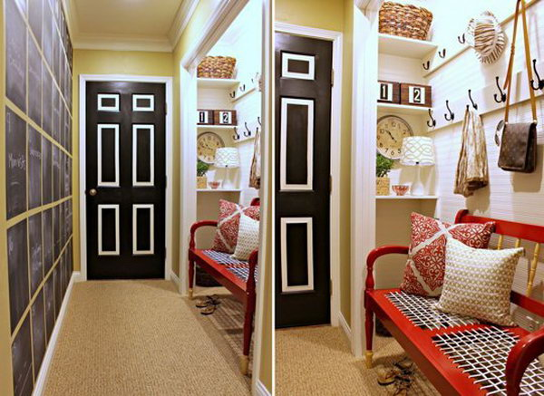 Mudroom with chalkboard wall.