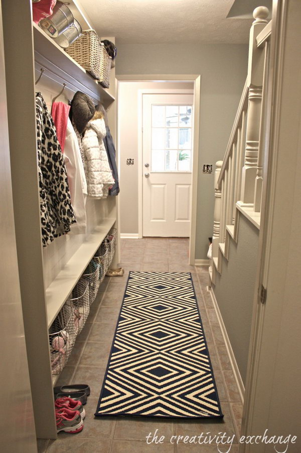 Extra place. If you are looking for a idea for changing your narrow small hallway to a functional mudroom, this would be a great inspiration.