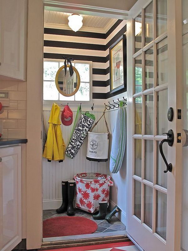 Small neat mudroom. Such a cool tiny mudroom with a great use of the space and every detail in the room is lovely.