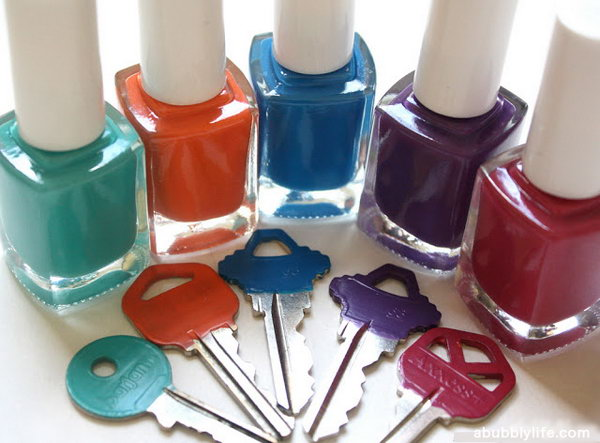 Nail Polish Painted Keys. Do you find yourself fumbling with the bundle of keys you have? Color them in different colors with nail polish, e.g. red for the car, blue for the house, and green for the letterbox. You'll save yourself a lot of time.