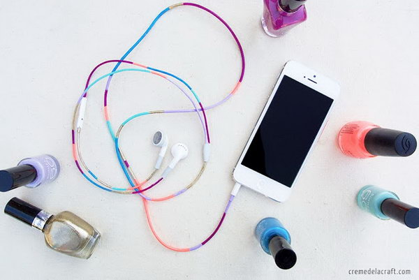 DIY Headphones with Nail Polish. Make your headphones more personalized and fashionable by painting them with the mixture of different colors of the nail polish. It's super easy to make.