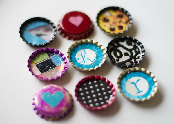 Paint Cute Bottle Cap Magnets with Nail Polish. Use nail polish to create custom magnets out of repurposed bottle caps. It's a super great gift for your kids.
