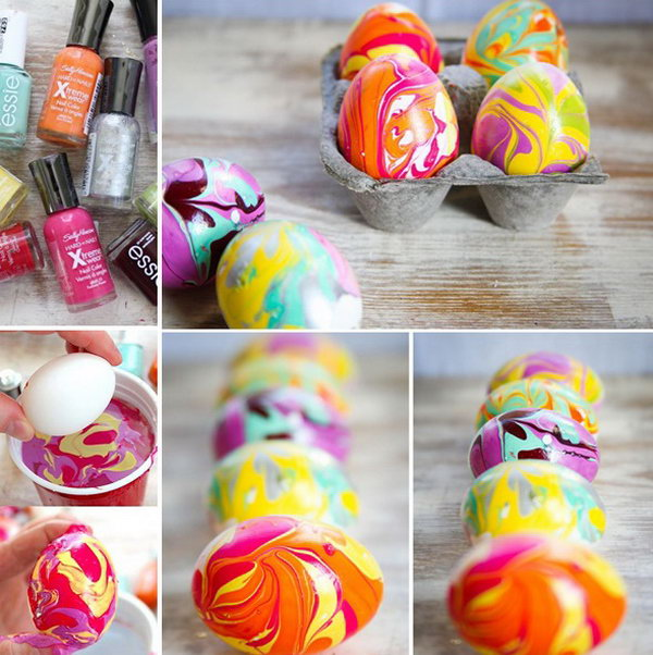 DIY Easter Marble Egg using Nail Polish. This is a super easy and fun idea for Easter eggs design.  Decorating the eggs with colorful nail polish to create the unique marbled effect.