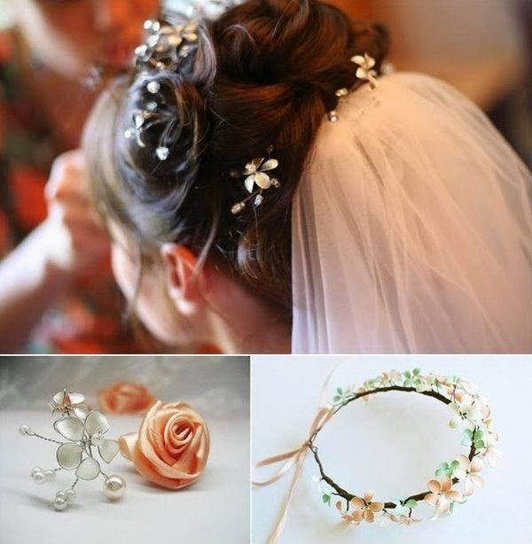 DIY Hair Makeup with Nail Polish. Make some hair makeup, such as the flower crown, with nail polish and wire. They are great gifts for your  beloved sisters.  Tutorials are below.