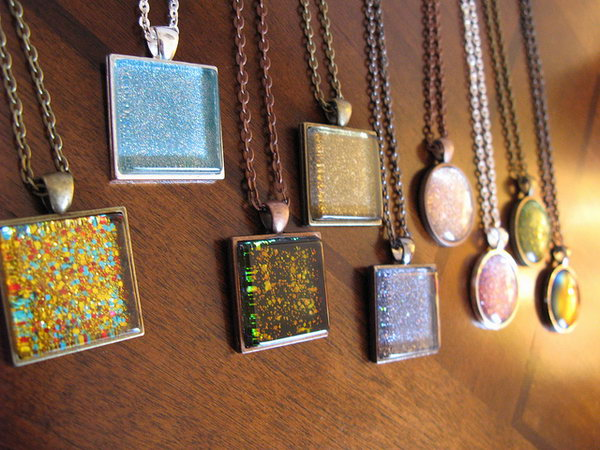 Nail Polish Pendants. This is another great use for your glitter nail polish   turning drab pendants into bold colored ones.