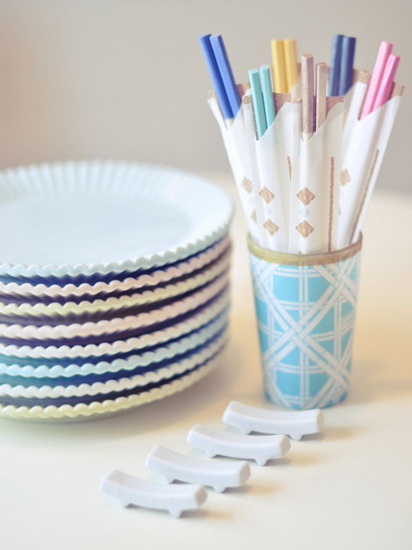 DIY Colorful Chopsticks With Nail Polish. Add a fun flair to these utensils by dipping the top end in nail polish. Create these colorful chopsticks from the raw wood chopsticks. Click through for the full tutorial.