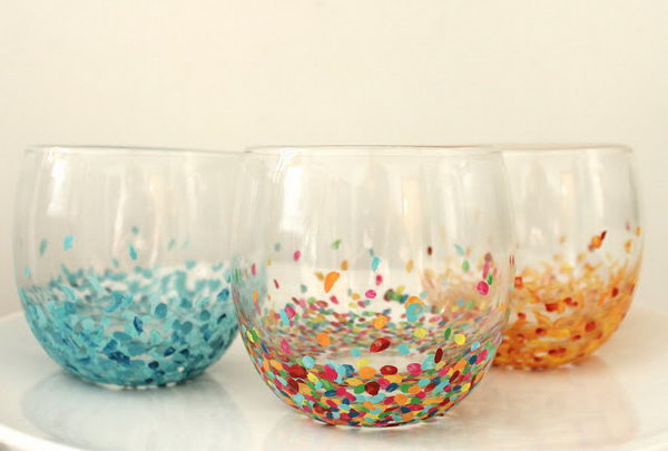 Create Confetti Tumblers With Nail Polish. These confetti tumblers will be a perfect present because they are handmade and unique. Click here to get the tutorials.
