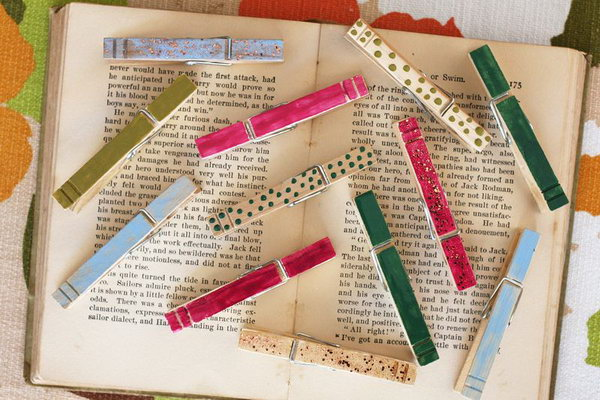 Colorful Clothes Pins With Nail Polish.  This is another great use for half used bottles of nail polish. Get the boring wooden clothes pins more fun.