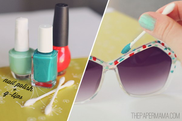 Nail Polish painted sunglasses. You are always on trend with this pair of sunglasses painted with  your favorite colors of nail polish.