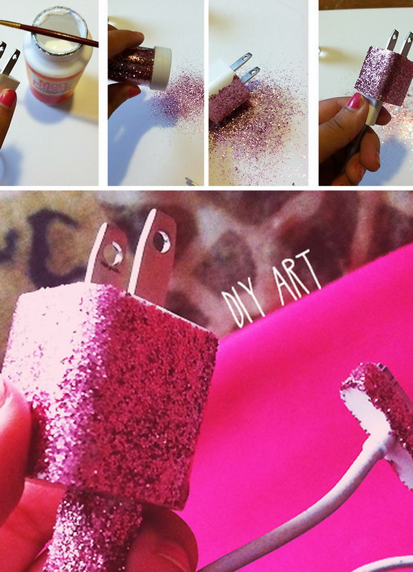 Glitter iPhone Charger. Make your iPhone charger unique and standing out by painting some glitter nail polish on.