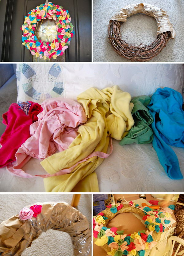 Colorful T shirt Scarp Wreath. This wreath is made with scrap fabric from the old T shirt and is fun and beautiful to do in pink, white, red, green or other seasonal colors. It will look great on the wall or door  of a child's or even as a hospital door wreath for the arrival of a new baby.