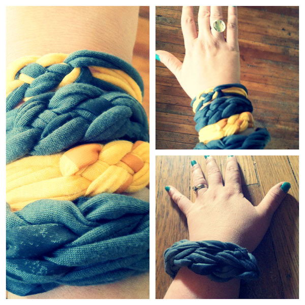 DIY Braided T Shirt Bracelets. It is pretty fun and easy to make this braided bracelet with an old Tshirt. There are 2 videos here to tell you 2 different types of stylish summer tastic bracelets using your  old t shirts.You can learn to DIY one to show off and share with friends.
