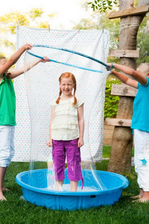 Human Bubble Machine. Have a child stand in the center of the pool. Place the child inside the gigantic bubble with the hula hoop. The kids must like this funny game.