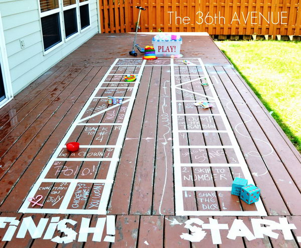 Giant Outdoor Board Game. Make the board with tape and chalk to specify the rules for the activity according to children's suggestions and interests. They will have a lot of fun joining this interesting game on hot summer days.
