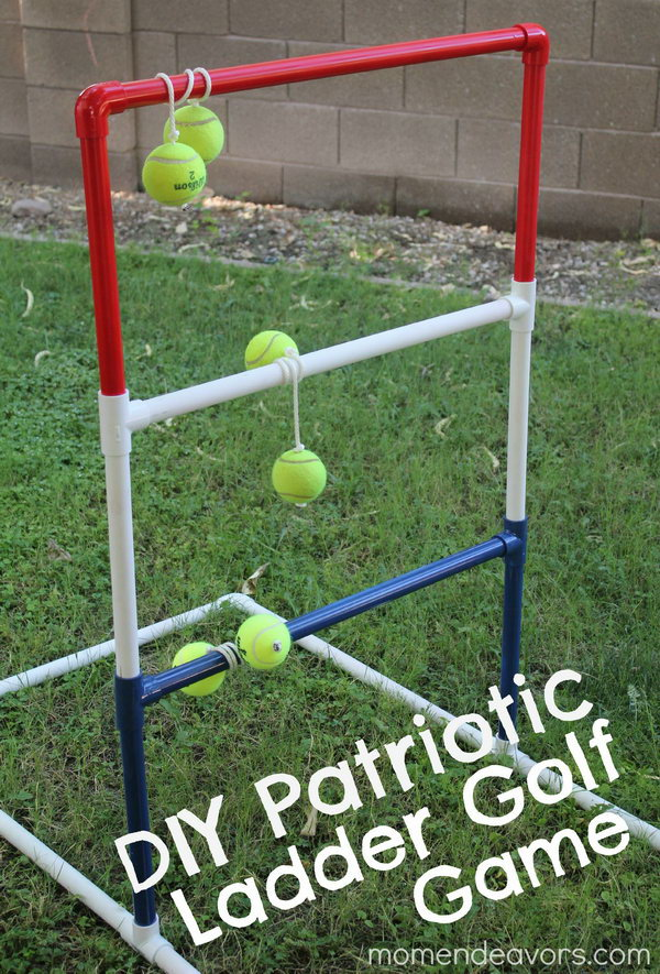 Patriotic Ladder Golf. It is a toss game in which you toss tethered balls toward a ladder –type structure to get your bola to rest on one of the 3 horizontal bars. Your kids must adore this funny game in summer.