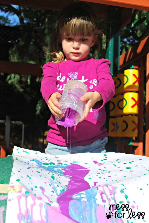 Slide Painting. Tape some easel paper from a roll to your slide to get it started. Place a trash bag on the bottom to catch the excess paint that might spill on the ground. Ask kids to pour paint from the slide to create a mixed color art in summer.