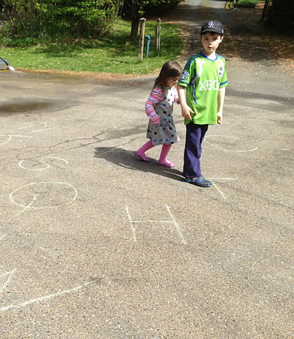 Walk and Spell Activity. Similar to the activity above this one, chalks are used in both of these activities, yet this game is designed to train your spelling ability by walking to each letter and spell out simple words in this interesting way on summer days.
