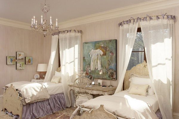 Lavender Princess Bedroom: The pink, lavender and mauve color pallete in this color make a sophisticated and beautiful room. The canopy idea with rods can be used in a room that is not perfectly symmetrical. And other details like the chandelier, the carpet or bed linen are all far beyond brilliant to complete the gorgeous space.