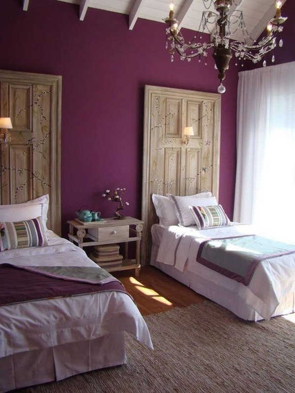Purple Accent Wall. Give your bedroom the royal treatment by painting one wall a rich color like purple and keeping the rest of the decor light and bright.