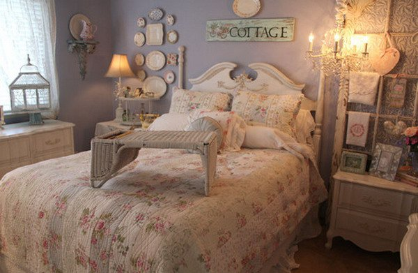 Cottage Shabby Chic:A bedroom as charming as an English cottage garden is a study in lilac, lavender and vanilla, with antique,  chintzes and cutouts to pile on the pretty. Paint walls the softest hint of lavender; make the bed in the floral sheets and pillowcases.