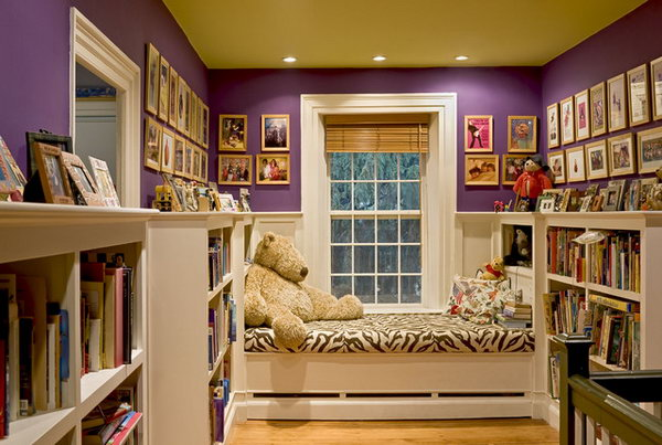 Window seat: A rich, saturated purple creates a striking contrast with bright white in this beautiful room.