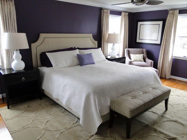 Purple Blue And White Deco Bedroom: I Love How They Pair Plethora Of Dark  Purple