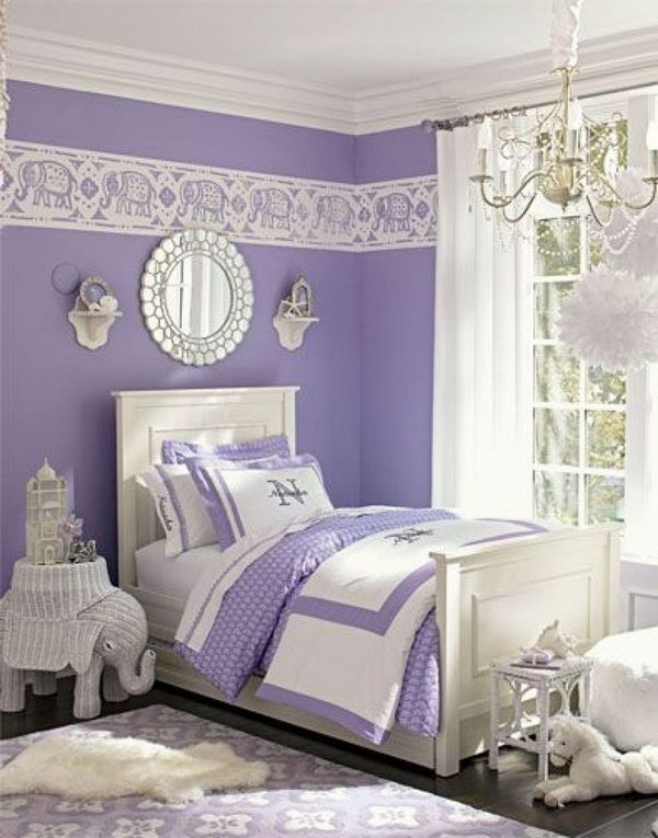 girls dreamy bedroom paired with bright white the color lavender looks even more elegant
