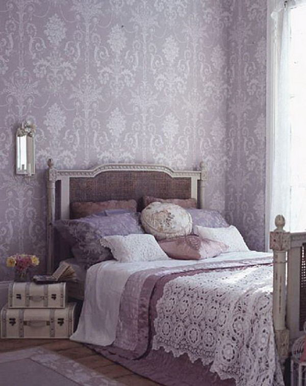 Purple Wallpaper: I love the Laura Ashley Josette wallpaper, the color scheme, the vintage luggage, the French bed, and the bedding. All of these details featured an elegant and romantic bedroom.