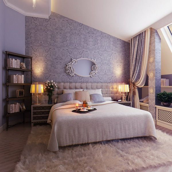 Elegant Feminine Soft Bedroom: Wall Color And Fairy Tale Like Mirror, The  Lavender Headboard