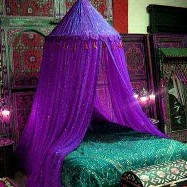 Deep Purple Bedroom Ideas Part - 42: Exotic And Romantic Moroccan Bedroom Decorating