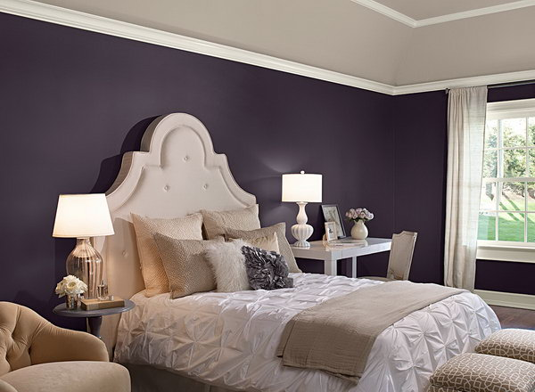 Bedroom in Benjamin Moore 'Shadow' Paint: Purple mixed with some indigo hues to keep the look from feeling too loud or too one note. I love the contemporary feel of the furnishing and the way how a rich purple creates a striking contrast with bright white in this elegant room.