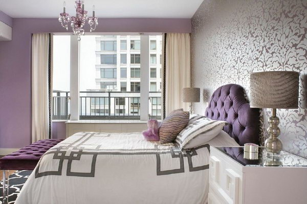 80 inspirational purple bedroom designs ideas hative for Purple feature wallpaper living room