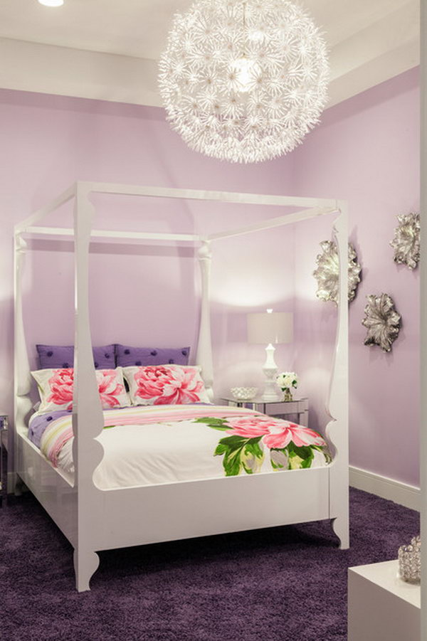 Silver Flowers on the Wall: In this pastel colored bedroom, the silver flowers and the  oversized pendant light really bring out the POP.