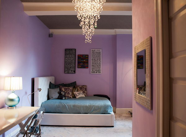 Bubbly Light fixture: The simplicity and elegance of the bedroom is really an inspiration. There are so many great details in this bedroom including the great lavender walls, blue bedding, and bubbly light fixture.