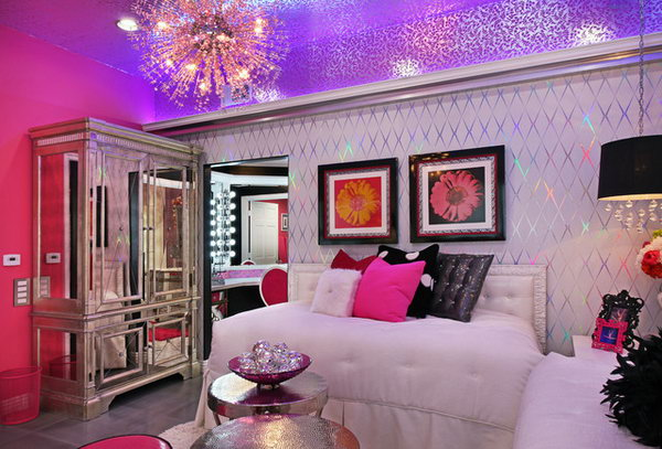 Shining Ceiling The Bright Sparkly Foil Wall Paper On Walls With Pink And
