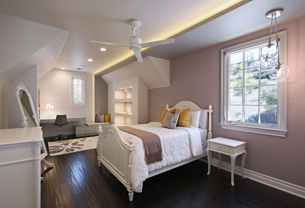 White and Lilac: In this pretty, sophisticated girl's room, white and lilac works well to make a pretty soothing bedroom. The elegant white furnishing adds to pretty and sophistication. The three bulb fixture and the built ins work well together and add interest.