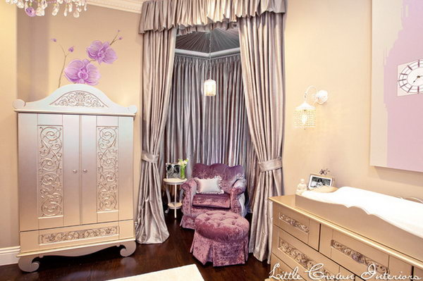 Purple and Vintage Silver: Great example of  utilization of the corner space. The pearly furniture and the curtains are so lush and glamorous, the purple chair plus a little pop.