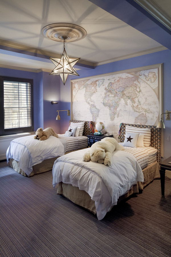 Grey Purple Bedroom Ideas Part - 43: Accdent Wall: This Bedroom Is Warmed Up By The Fixtureu0027s Soft Glow Such As  The