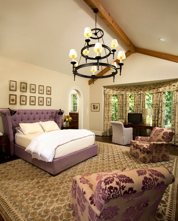 Purple Aganist Neutral: Look at the less cluttered but comfortable organization of the bedroom. I love the inviting and comfortable feel. The window idea with arched door behind the bed to the dressing room is great.