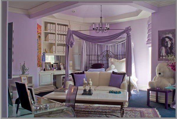 Purple ceiling: I love the canopy and the idea painting the ceiling purple, it seems like a bold move. But in this room, it visually lowers the ceiling to keep it from overly spacious. combined with white, the color scheme make the space feel cozy and inviting.