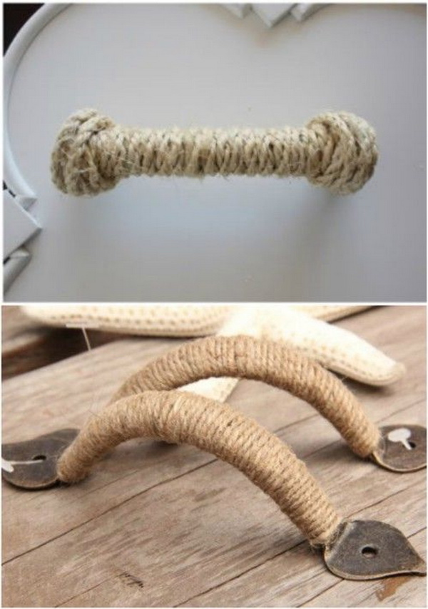 DIY Rope Wrapped Drawer Handles.