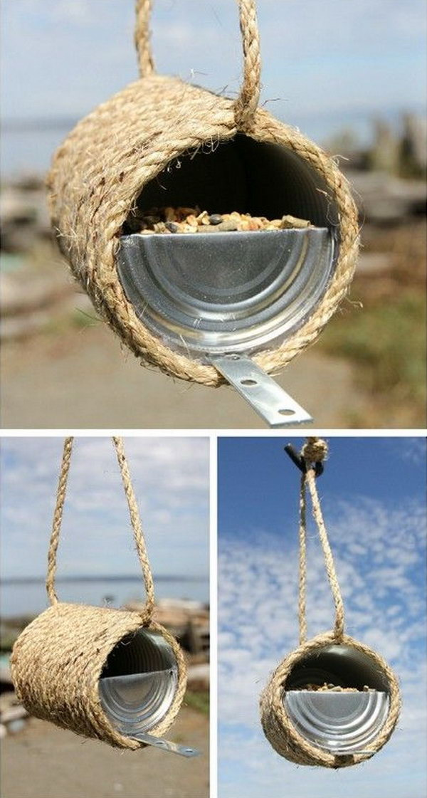 Sisal Rope Birdfeeder. This beautiful bird feeder is made from an old tin can and some sisal rope. Wrap the rope around a clean can and bend the lid in half so that the birds can get the food. Then put something for a ledge for the birds to stand on when eating. This project is easy and quick to make. It only takes you about 20 minutes. Get the tutorial